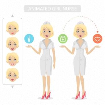 삽화 간호사는 애니메이션 머리 손 발을 분할할 준비가 되었습니다.