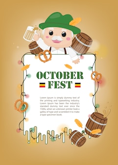 Illustration october fest template. character of old man and decoration.