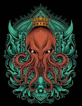 Иллюстрация король осьминогов с гравировкой орнамента