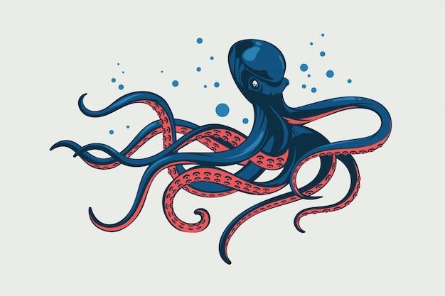 Иллюстрация осьминог. кальмар с морепродуктами и щупальцами из морепродуктов