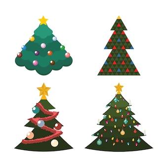 크리스마스 트리의 4 가지 종류의 그림
