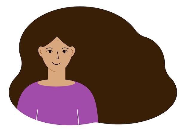 무성한 머리를 가진 아름다운 여자의 그림