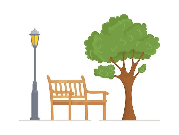 Иллюстрация скамейки в парке
