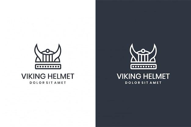 白の背景に黒のバイキングヘルメットのイラスト。