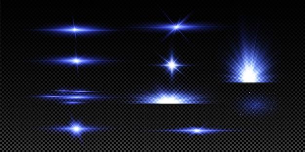 青い色のイラスト。グローライト効果。ベクトルイラスト。クリスマスフラッシュ。ほこり、輝く太陽、明るいフラッシュ。