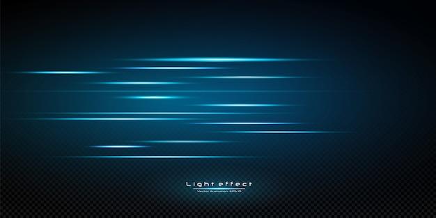 Иллюстрация синего цвета. световой эффект. абстрактные лазерные лучи света. хаотичные неоновые лучи света.