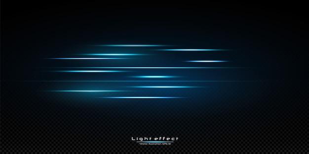 青い色のイラスト。光の効果。光の抽象的なレーザービーム。混沌としたネオンの光線。