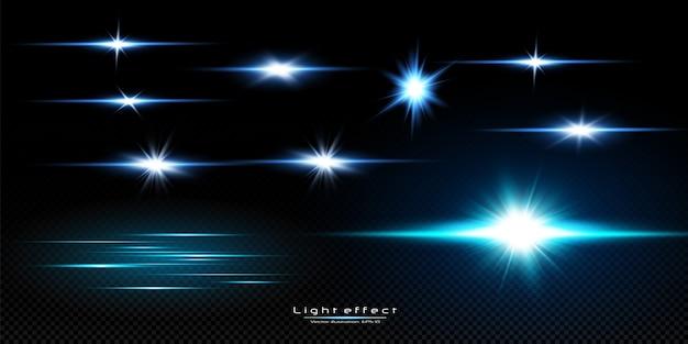 Иллюстрация синего цвета. набор световых эффектов. вспышки и блики. яркие лучи света. светящиеся линии. векторная иллюстрация. рождественская вспышка. пыль.