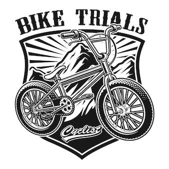흰색 배경에 bmx 자전거의 그림.