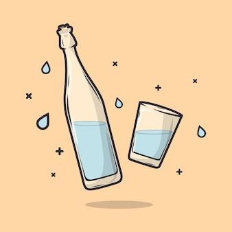 水で満たされたボトルとガラスのイラスト