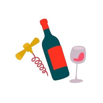 ワインのボトル、グラス、コルク抜きのイラスト