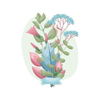 植物標本からの葉と花の花束のイラスト。