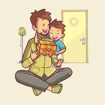 Иллюстрация мальчика, дающего подарок своему отцу. рисованное искусство