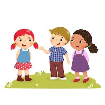 Иллюстрация мальчика, представляющего своего друга девушке
