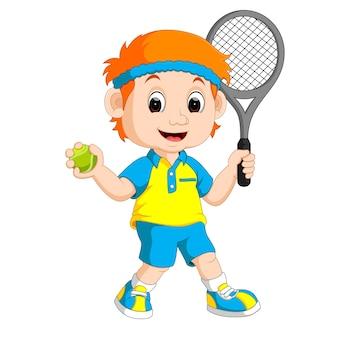 芝生テニスをしている男の子のイラスト