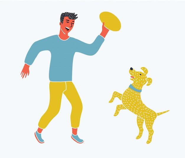 彼のペットの犬と一緒に走っている少年のイラスト