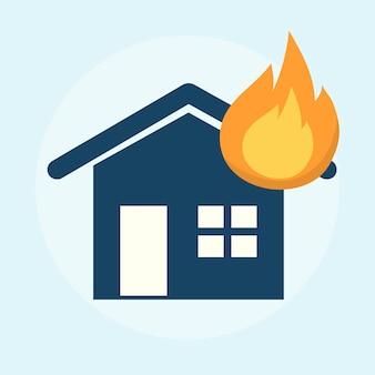 燃える家のイラスト