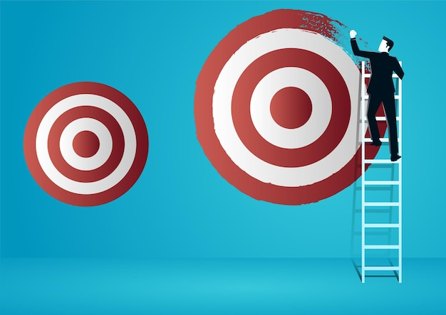 사업가의 그림 등반 및 새로운 더 큰 대상 보드를 페인트