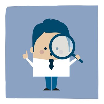 虫眼鏡を持っているビジネスマンのイラスト