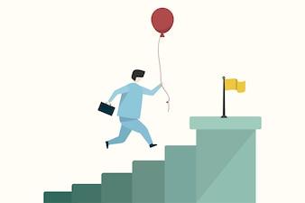 Illustration of a businessman reaching a goal