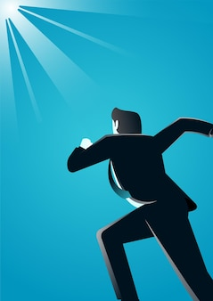 실행하는 사업가의 그림은 비즈니스에서 성공에 도달 설명