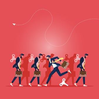 Иллюстрация бизнесмена, который бежит не так, как другие, после того, как его моталка отпущена