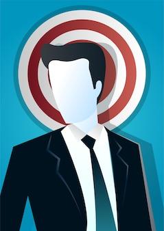 타겟 보드 앞에 서있는 사업가의 그림