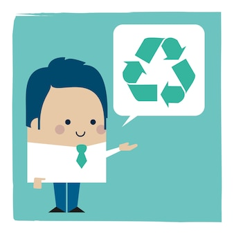 Иллюстрация бизнесмена, говорящего об утилизации