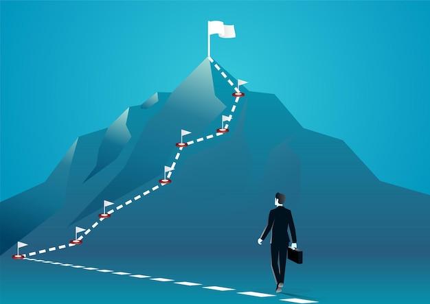 山の頂上を歩いているビジネスマンのイラスト