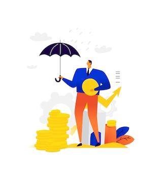Иллюстрация бизнесмена с монетками под зонтиком. человек пытается удержать свой капитал от инфляции.
