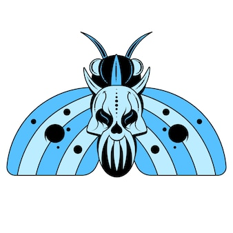 나비의 그림 흉부에 해골 모양의 패턴이 있는 죽은 머리. 현실적인 나방이 있는 벡터 배너는 위쪽 보기, 흑백 및 색상을 닫습니다.