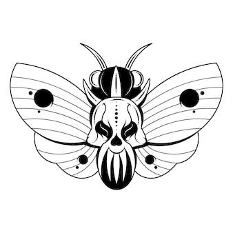나비의 그림 흉부에 해골 모양의 패턴이 있는 죽은 머리. 현실적인 나방이 있는 벡터 배너 닫기