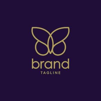 フラットで豪華なロゴデザインのタッチで、王冠が付いた蝶のデザインロゴのイラスト