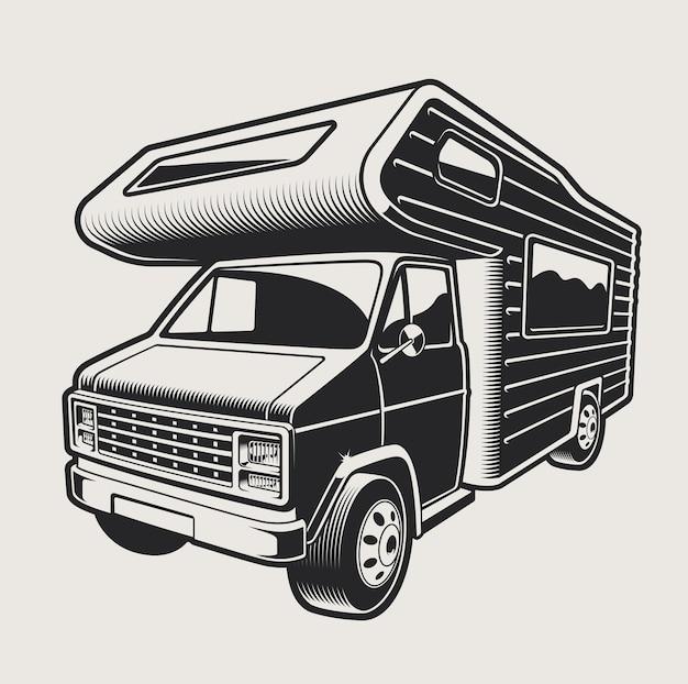 明るい背景にキャンプ旅行バンのイラスト。イラストの背景が明るい。