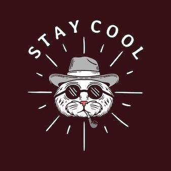 Иллюстрация головы кошки в солнцезащитных очках и курит трубку на черном фоне