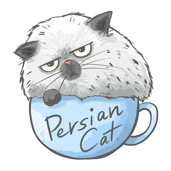 Иллюстрация кота, сидящего в чашке, забавный милый мультяшный кот