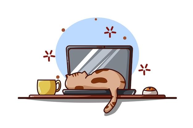 ノートパソコンで寝ている猫のイラスト