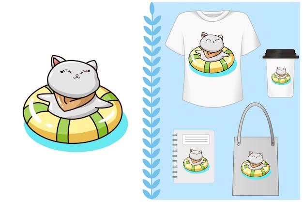 , иллюстрация кота, плывущего с покрышкой для плавания Premium векторы