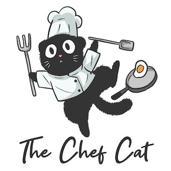 요리사, 재미있는 귀여운 만화 고양이인 고양이의 그림