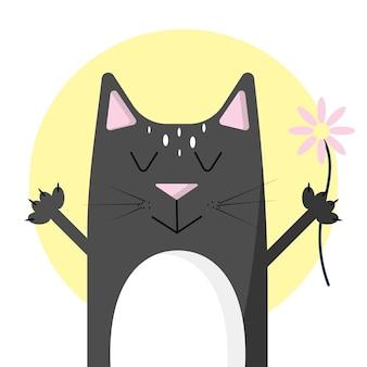Иллюстрация кота с цветком чёрный кот милый котик