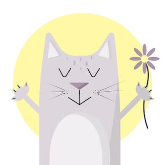 Иллюстрация кота с цветком серый кот милый котик