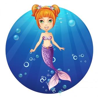 陽気な女の子の人魚のイラスト。