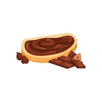 Иллюстрация бутерброда с шоколадной пастой