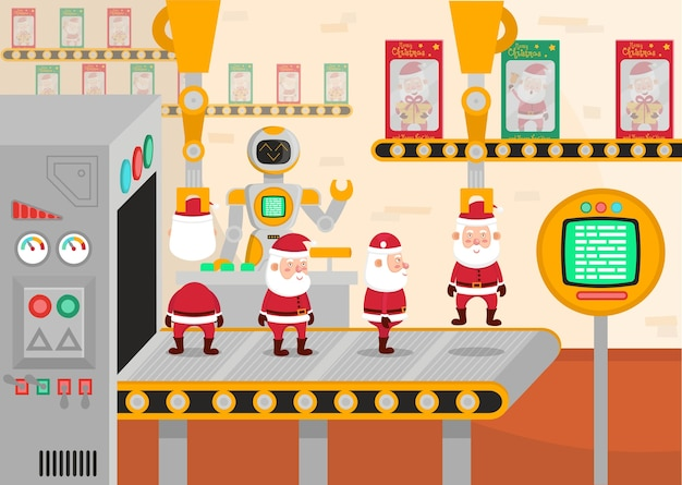 クリスマスコンベヤーのイラスト。ロボットはサンタクロースのおもちゃを詰め込みます。