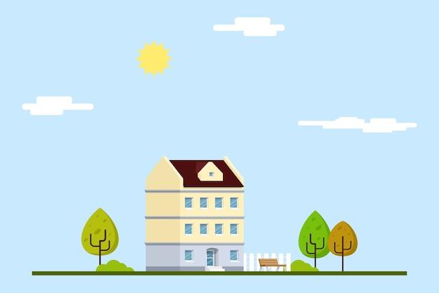 타운 하우스, 나무, 가로등으로 도시 풍경의 그림. 벤치와 구름. 플랫 라인 아트 스타일. 주택, 부동산 시장, 건축 설계, 부동산 투자.