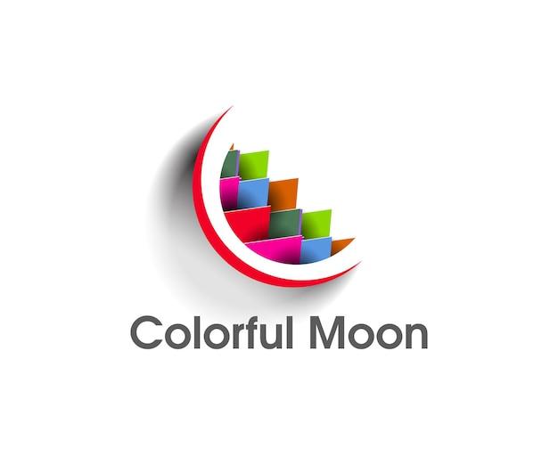 白い背景の上のカラフルな月のロゴのイラスト。
