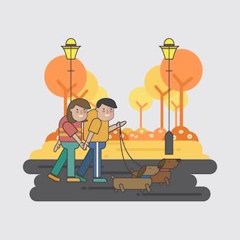 Иллюстрация пары, идущей с собаками