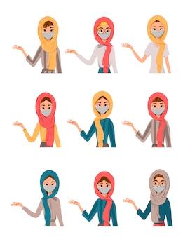 白い背景で隔離のマスクを着てかわいいアラブ、イスラム教徒の家族キャラクターのイラスト。