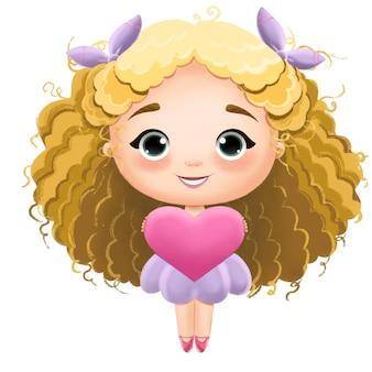 발렌타인 데이를위한 긴 머리와 마음을 가진 귀여운 아기 소녀 인형의 그림