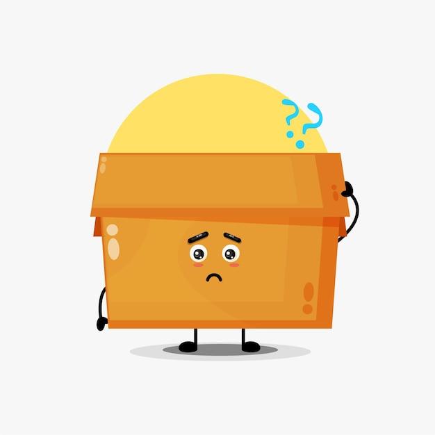 혼란스러워하는 귀여운 상자 캐릭터의 일러스트